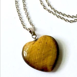 Tigers Eye Stone Heart Necklace Vintage